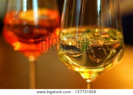 Aperitif red and yellow a little alcohol