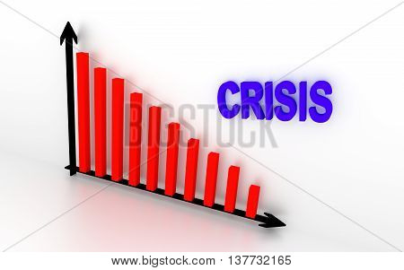 In the illustration showing falling down graph and write crisis. 3D rendering.