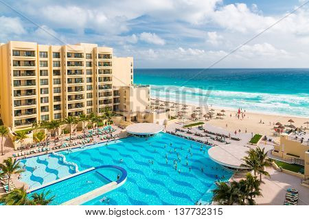 CANCUN MEXICO - December 22 2014: Luxury all-inclusive The Royal Sands resort with beautiful beach and swimming pool.