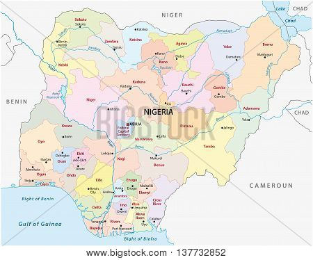 vector administrative and political map of the Federal Republic of Nigeria