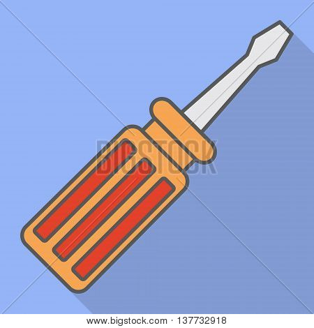 Screwdriver on blue background shadow. Flat style. Simle icon. Vector image.