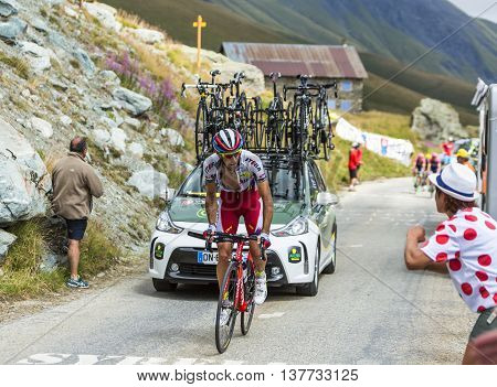 Col de la Croix de Fer France - 25 July 2015:The Spanish cyclist Alberto Losada Alguacil of Katusha Team climbing to the Col de la Croix de Fer in Alps during the stage 20 of Le Tour de France 2015.