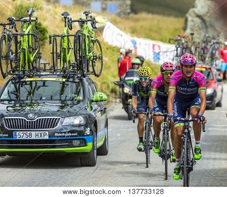 Col de la Croix de Fer France - 25 July 2015:The cyclists Rafael Valls Ferri Nelson Oliveira of Lampre-Merida Team and Jonathan Castroviejo Nicolas of Movistar Team climbing to the Col de la Croix de Fer in Alps during the stage 20 of Le Tour de France 20