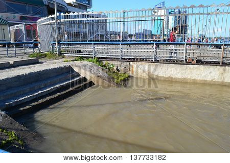 The water came up to the very stairs to the dock in the flood period