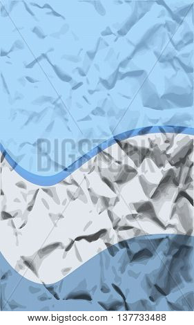 Blue Waves creased paper card vector illustration