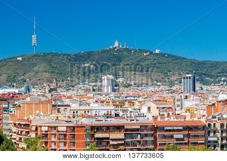 Aerial view of the city and Mount Tibidabo. Barcelona. Spain.