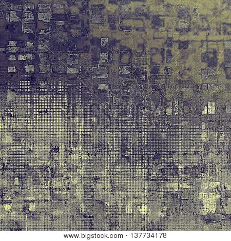 Old-style dirty background with textured vintage elements and different color patterns: yellow (beige); brown; blue; gray; purple (violet)