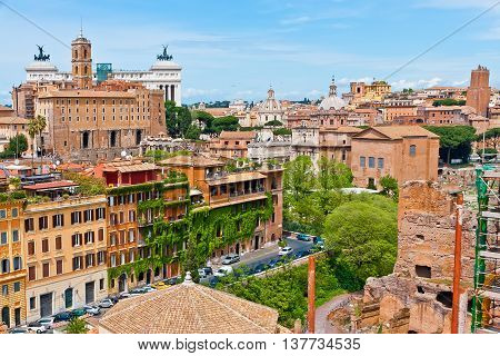 Rome cityscape with Monument of Victor Emmanuel II view.