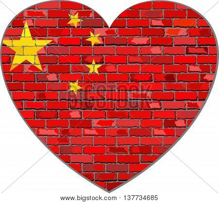 Flag of China on a brick wall in heart shape - Illustration, Chinese flag on brick textured background, Republic of China flag in brick style, Abstract grunge mosaic vector