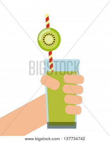 Smoothie and Juice concept represented by kiwi detox icon. Isolated and flat illustration.