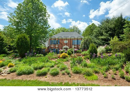 Single Family House Home Flower Landscaped Garden