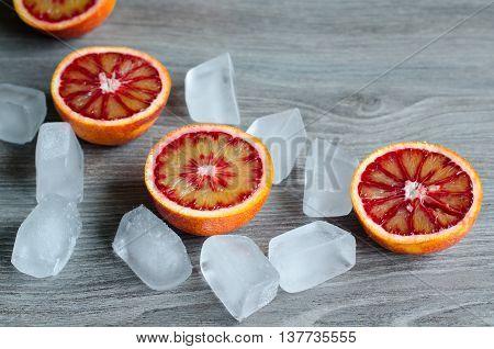 Sicilian Blood Oranges On Gray Background