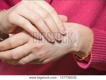 Applying A Cosmetic Hand Soap, Hand Wash, Body Care, Cleanliness And Hygiene
