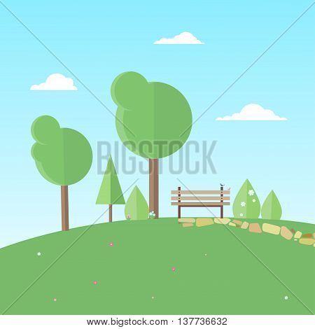 bench surrounded by trees bushes and flowers stands on a hill on a clear summer day. Sit on the bench two birdies. Vector illustration in a flat style