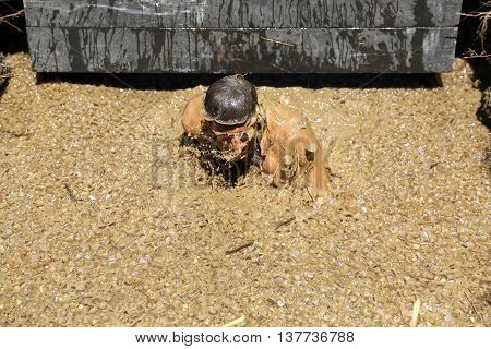 Sofia Bulgaria - July 9 2016: A participant is diving in an iced water at the Legion Run extreme sport challenge near Sofia. The sports event is mud and obstacle course designed to test people's physical strength stamina and mental grit.
