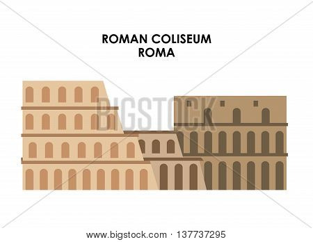 Italy culture concept represented by roman coliseum icon. Isolated and flat illustration.