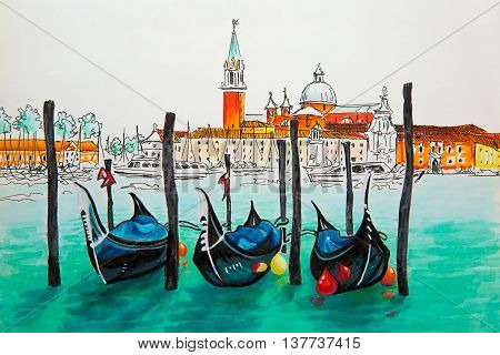 Gondolas moored by Saint Mark square with San Giorgio di Maggiore church in the background in Venice lagoon Italia. Picture made markers
