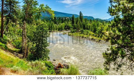 Bend in the Nicola River as it flows from the town of Merritt to the Fraser River at the town of Spences Bridge in British Columbia, Canada