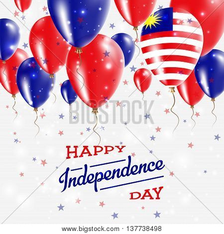 Malaysia Vector Patriotic Poster. Independence Day Placard With Bright Colorful Balloons Of Country