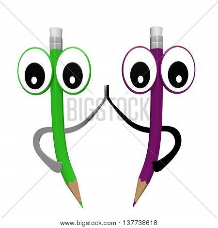Two pencil slap. Green and purple funny cartoon pencil characters with eyes, hands and rubbers. Isolated 3D illustration.