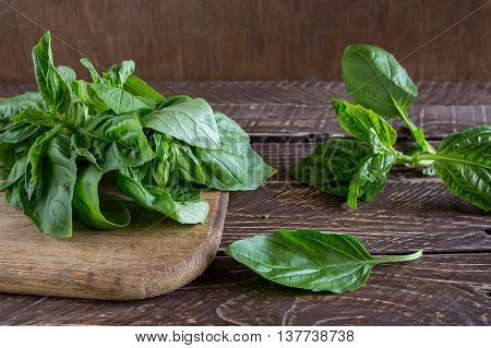 Basil on a wooden boards basil on a brown background.