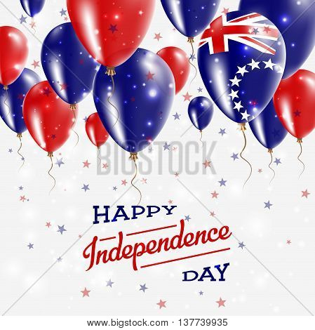 Cook Islands Vector Patriotic Poster. Independence Day Placard With Bright Colorful Balloons Of Coun