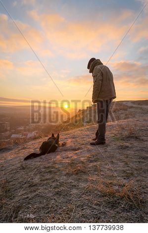 beautiful sunrise, in the company of best friends , dog is man's best friend , the relationship between man and nature