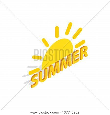 Sun and summer icon in isometric 3d style isolated on white background. Entertainment symbol