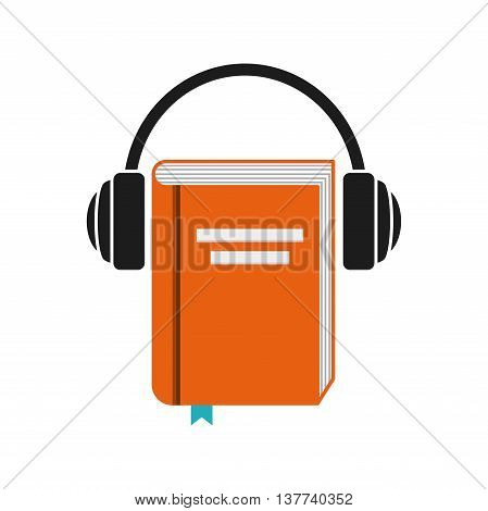 Audiobooks and online learning concept represented by book and headphone icon. Colorfull and flat illustration.
