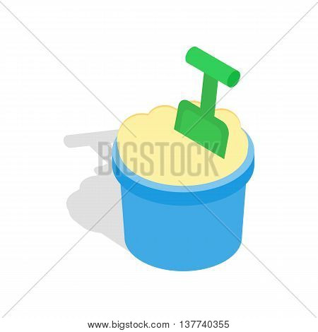 Bucket of sand and shovel icon in isometric 3d style isolated on white background. Play and games symbol
