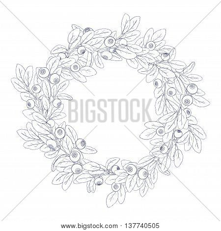Round wreath or frame of branches of blueberry with berries on a white background. The branches are painted dark tench and filled with white. Wreath isolated from the background. Vector illustration.
