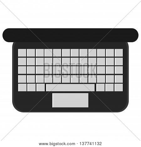 laptop computer high view keyboard Isolated vector illustration