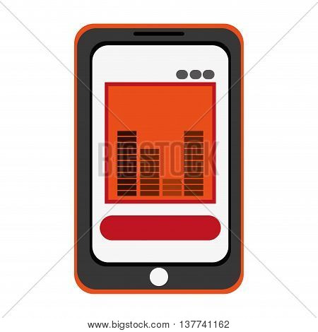 smartphone bars sound icon Isolated vector illustration