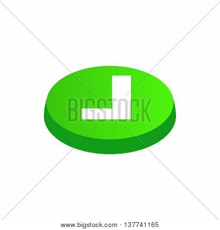 Confirmation button icon in isometric 3d style isolated on white background. Choice of action symbol