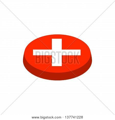 Cancel button icon in isometric 3d style isolated on white background. Choice of action symbol