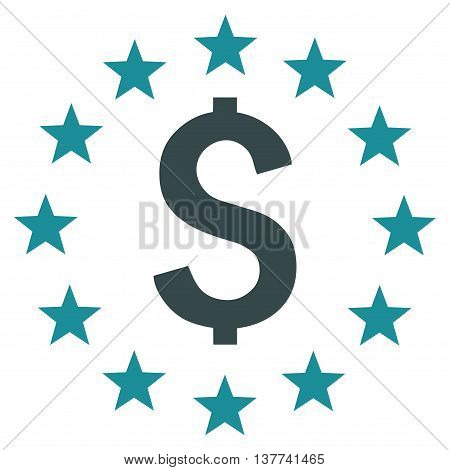Dollar Stars vector icon. Style is bicolor flat symbol, soft blue colors, white background.