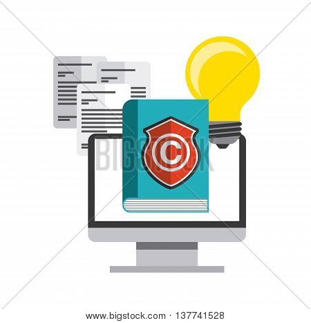 Copyright concept represented by book, bulb, computer and c icon. Colorfull and flat illustration.