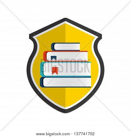 Copyright concept represented by book and shield icon. Colorfull and flat illustration.