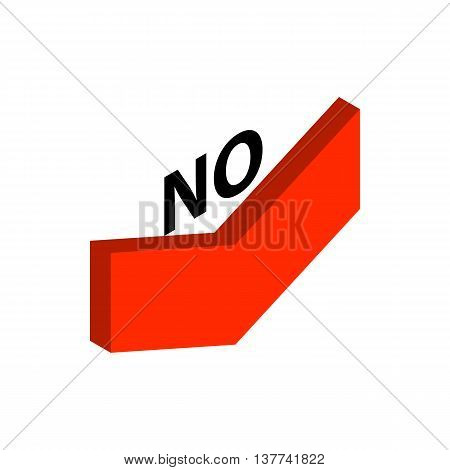 Down arrow with inscription no icon in isometric 3d style isolated on white background. Choice symbol