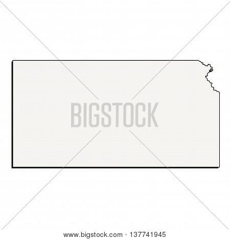 Vector Kansas State 3D Outline Map Mercator