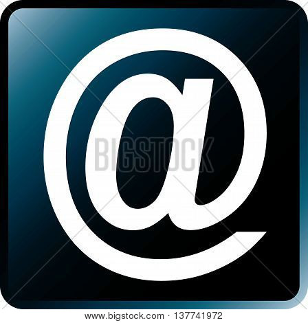 Vector Email Concept Icon White on Cyan Black