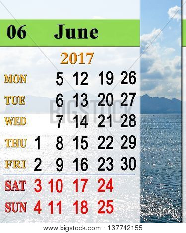 calendar for June 2017 with seashore with sand and waves