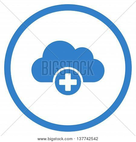 Cloud Medicine vector icon. Style is flat circled symbol, cobalt color, rounded angles, white background.