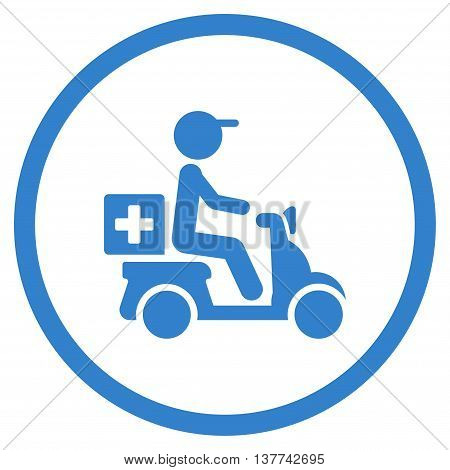 Painkiller Motorbike Delivery vector icon. Style is flat circled symbol, cobalt color, rounded angles, white background.