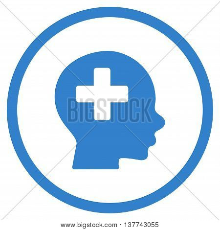 Head Medicine vector icon. Style is flat circled symbol, cobalt color, rounded angles, white background.