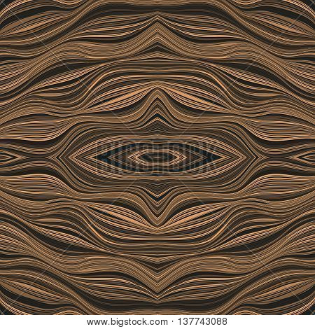 Seamless regular pattern in yellow-brown tones. Stylized wood. Beautiful vintage ornament of twisted lines. Abstract vector background