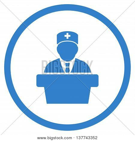 Health Care Official vector icon. Style is flat circled symbol, cobalt color, rounded angles, white background.