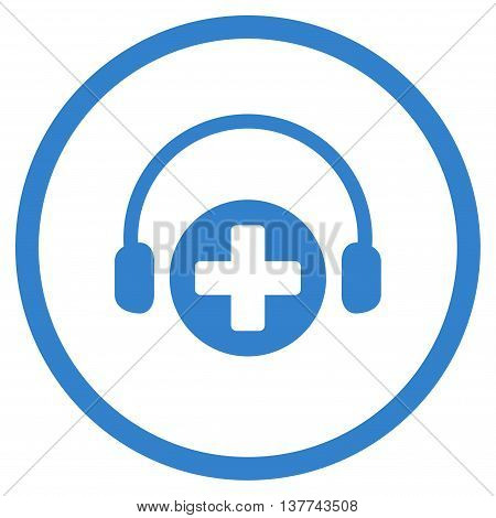 Hospital Call Service vector icon. Style is flat circled symbol, cobalt color, rounded angles, white background.