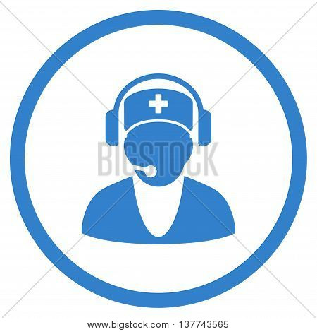 Hospital Receptionist vector icon. Style is flat circled symbol, cobalt color, rounded angles, white background.