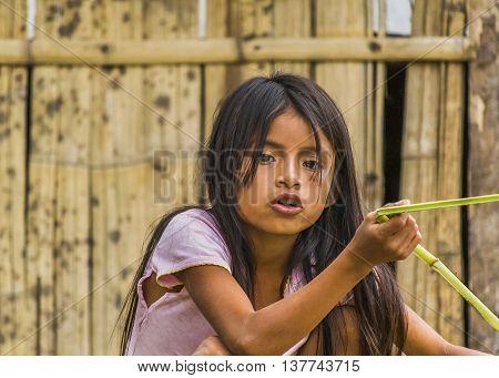 PUYO, ECUADOR, OCTOBER - 2015 - Portrait of amazonic indigenous ecuadorian kid in Puyo Ecuador.